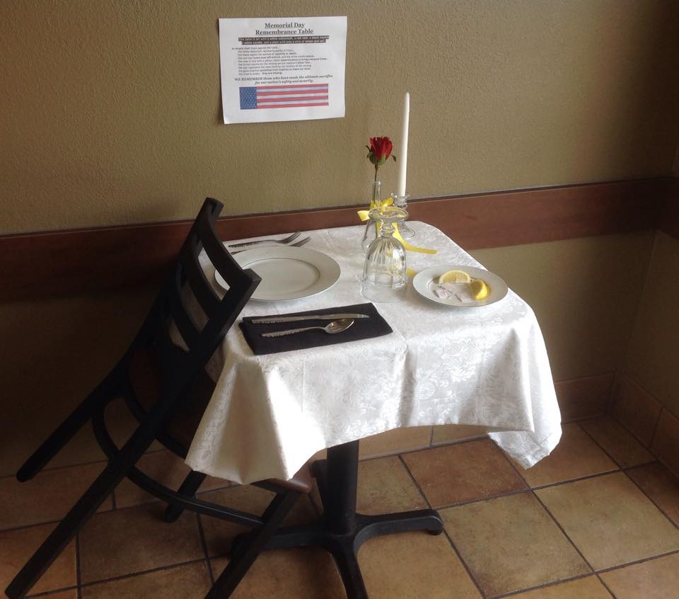 Memorial Day Missing Man Table we remember
