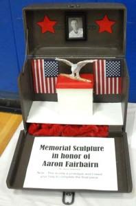 Memorial sculpture in honor of Aaron Fairbairn by Jaycie Wakefield